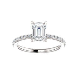 The Kathe Moissanite emerald moissanite engagement ring solitaire setting white gold