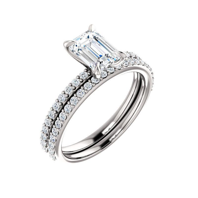 The Kathe Moissanite emerald moissanite engagement ring solitaire setting white gold with matching band