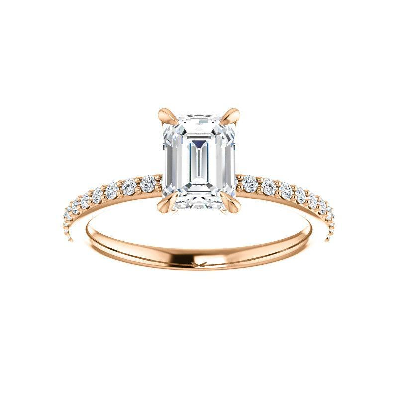 The Kathe Moissanite emerald moissanite engagement ring solitaire setting rose gold