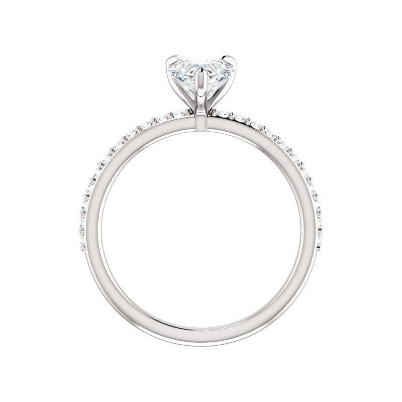 The Kathe Moissanite heart moissanite engagement ring solitaire setting white gold side profile