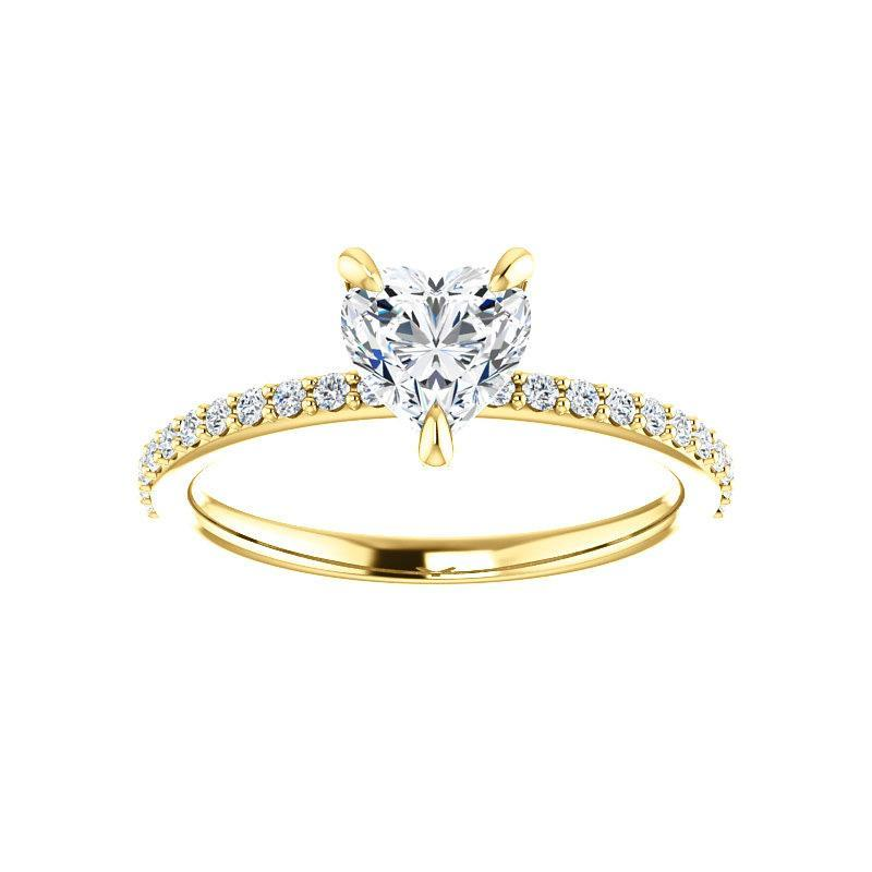 The Kathe Moissanite heart moissanite engagement ring solitaire setting yellow gold