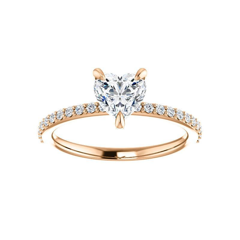 The Kathe Moissanite heart moissanite engagement ring solitaire setting rose gold