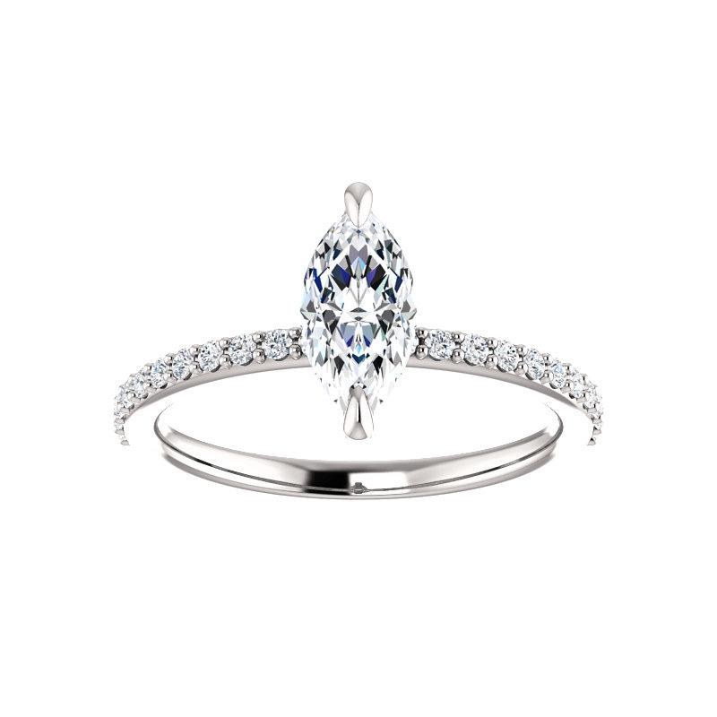 The Kathe Moissanite marquise moissanite engagement ring solitaire setting white gold