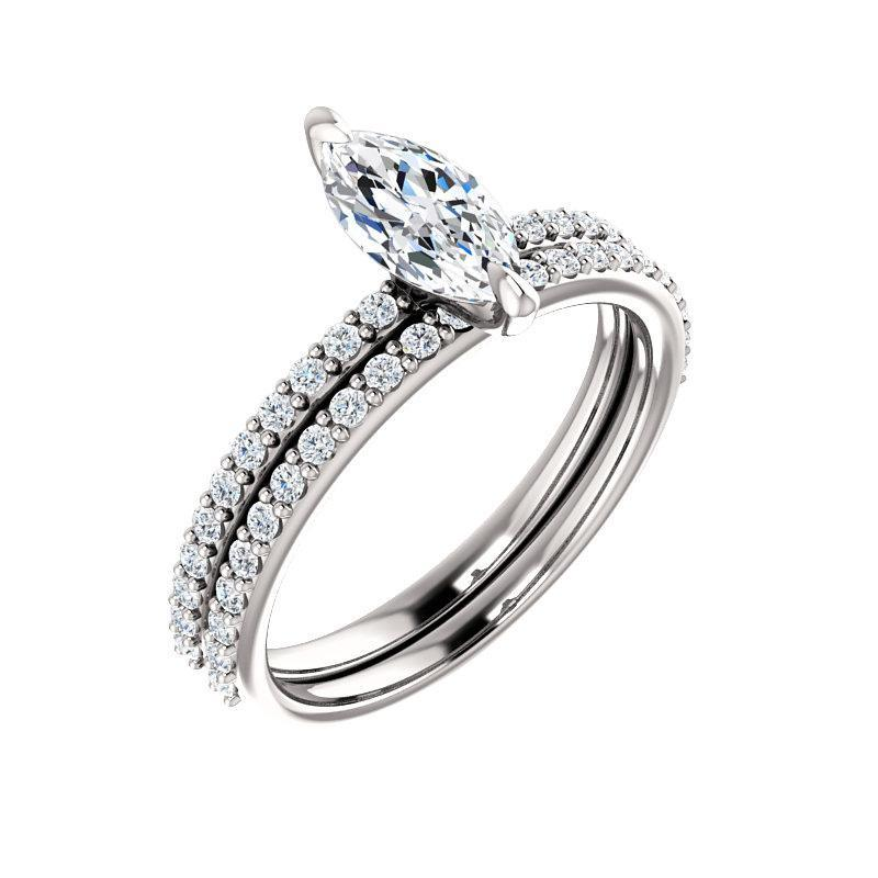 The Kathe Moissanite marquise moissanite engagement ring solitaire setting white gold with matching band