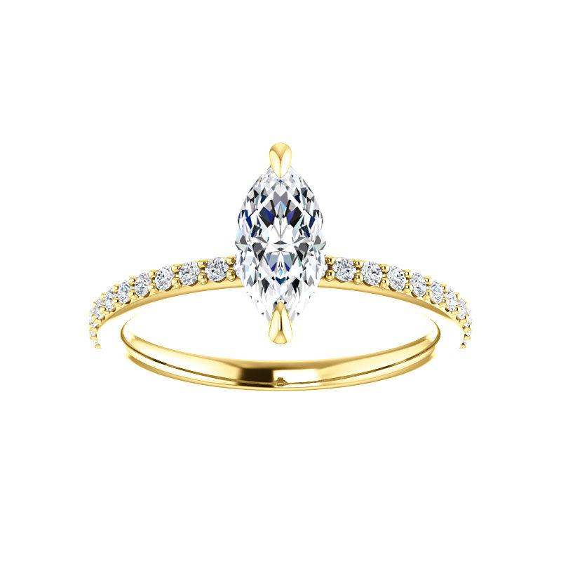 The Kathe Moissanite marquise moissanite engagement ring solitaire setting yellow gold