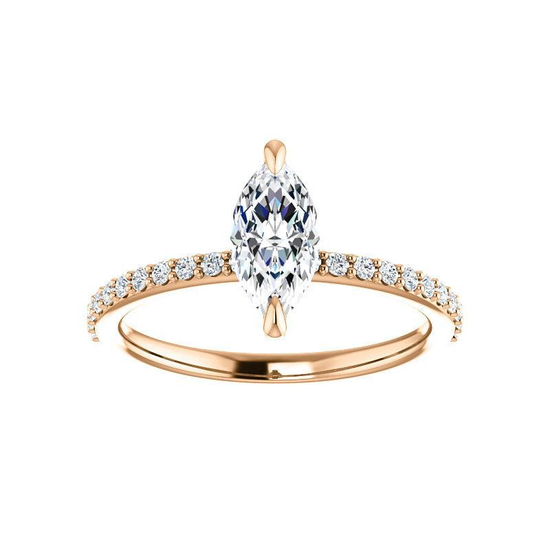 The Kathe Moissanite marquise moissanite engagement ring solitaire setting rose gold
