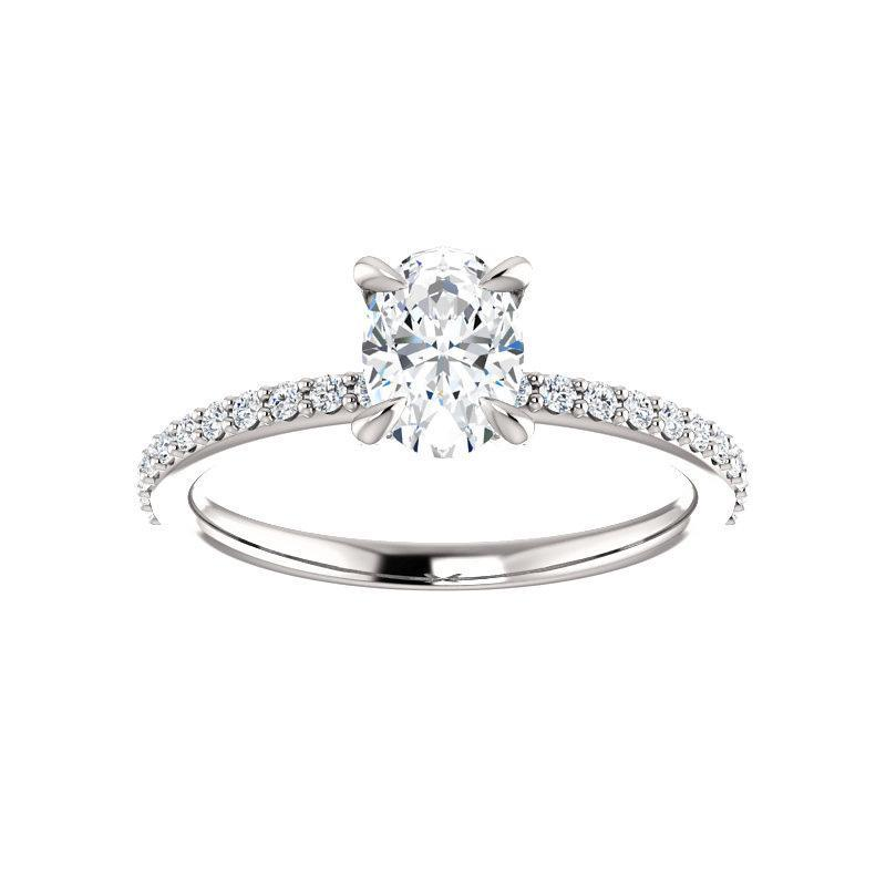 The Kathe Moissanite oval moissanite engagement ring solitaire setting white gold