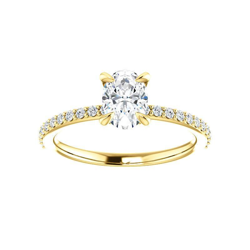The Kathe Moissanite oval moissanite engagement ring solitaire setting yellow gold