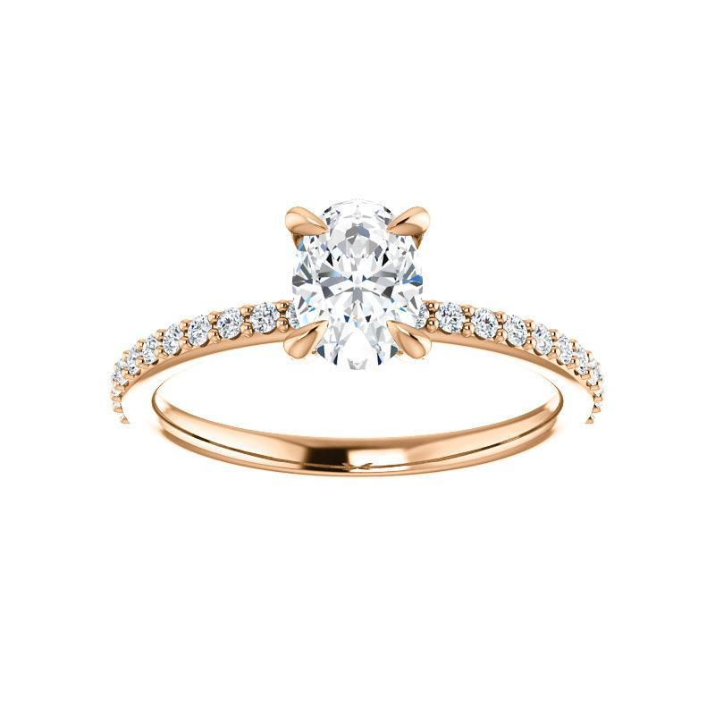 The Kathe Moissanite oval moissanite engagement ring solitaire setting rose gold
