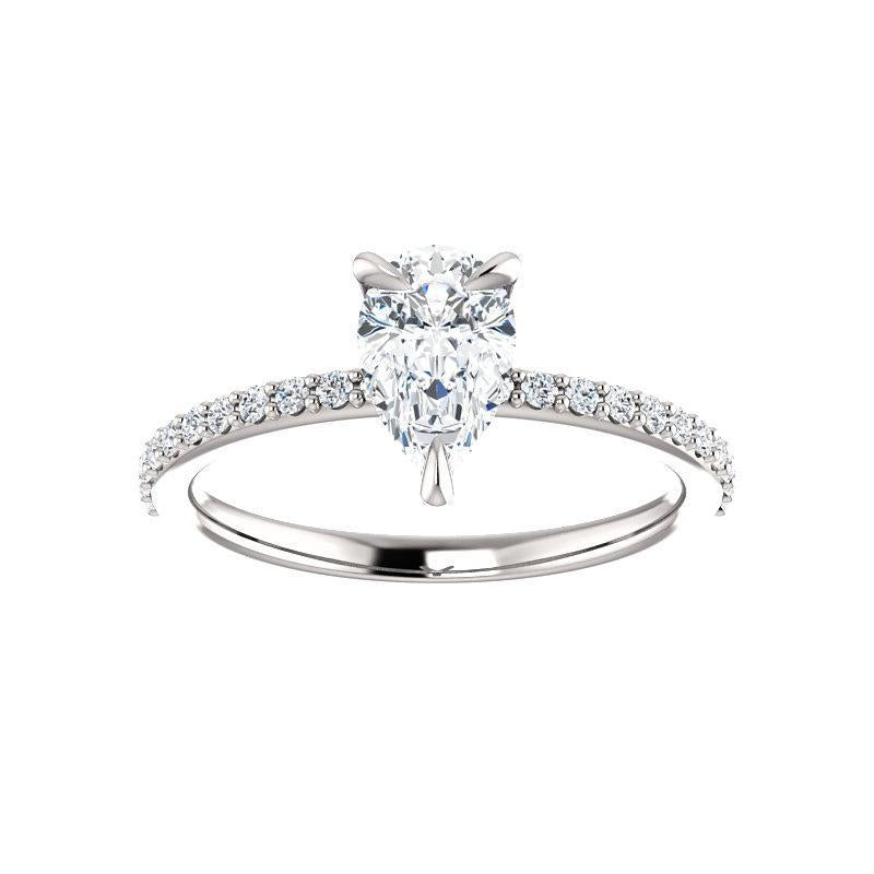The Kathe Moissanite pear moissanite engagement ring solitaire setting white gold