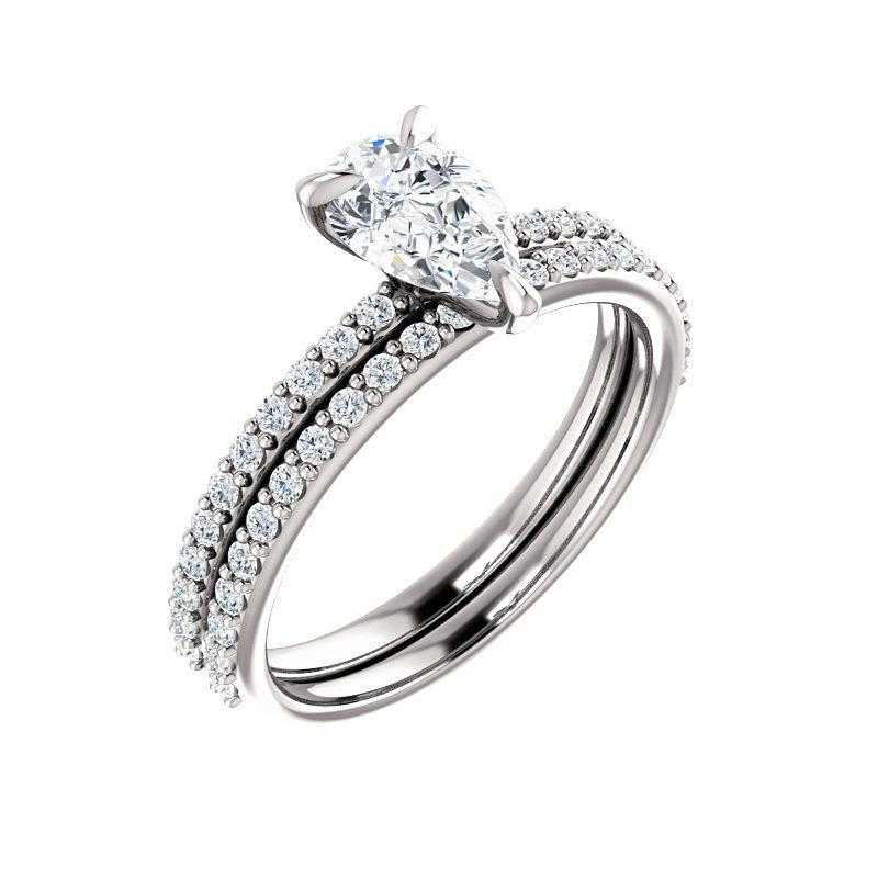 The Kathe Moissanite pear moissanite engagement ring solitaire setting white gold with matching band