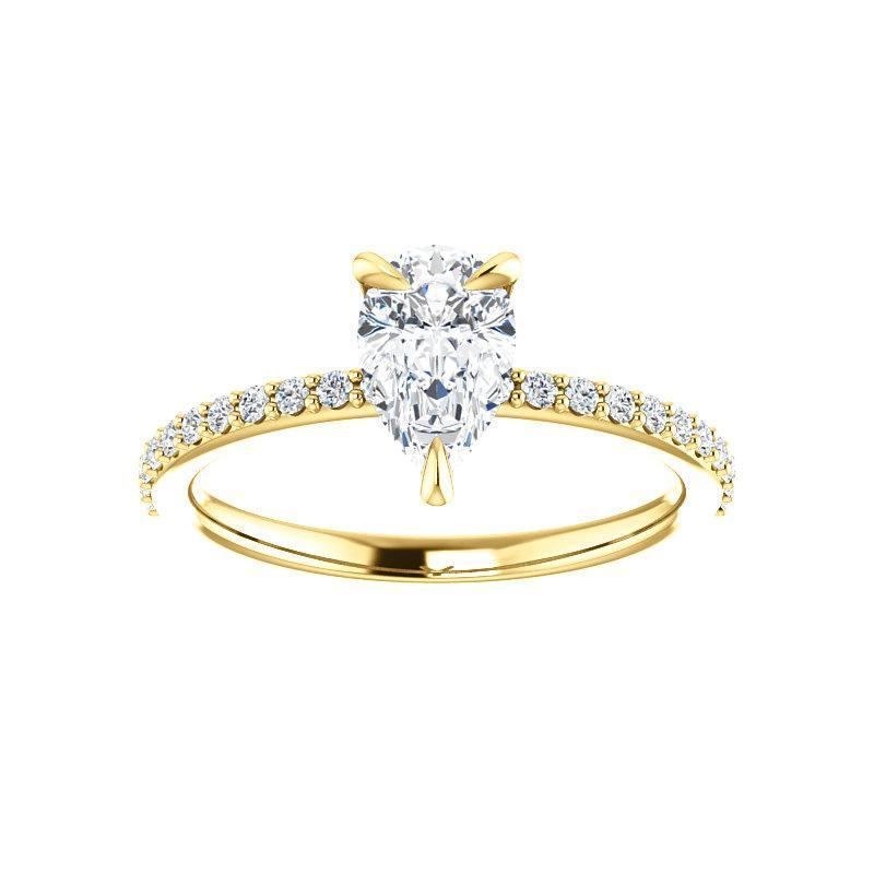 The Kathe Moissanite pear moissanite engagement ring solitaire setting yellow gold