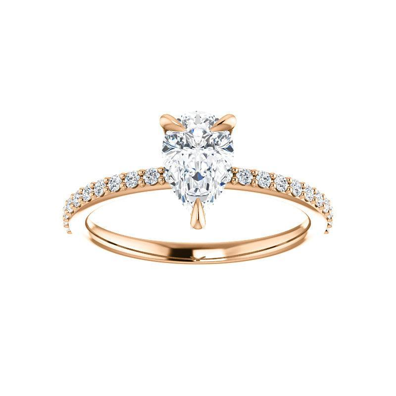 The Kathe Moissanite pear moissanite engagement ring solitaire setting rose gold