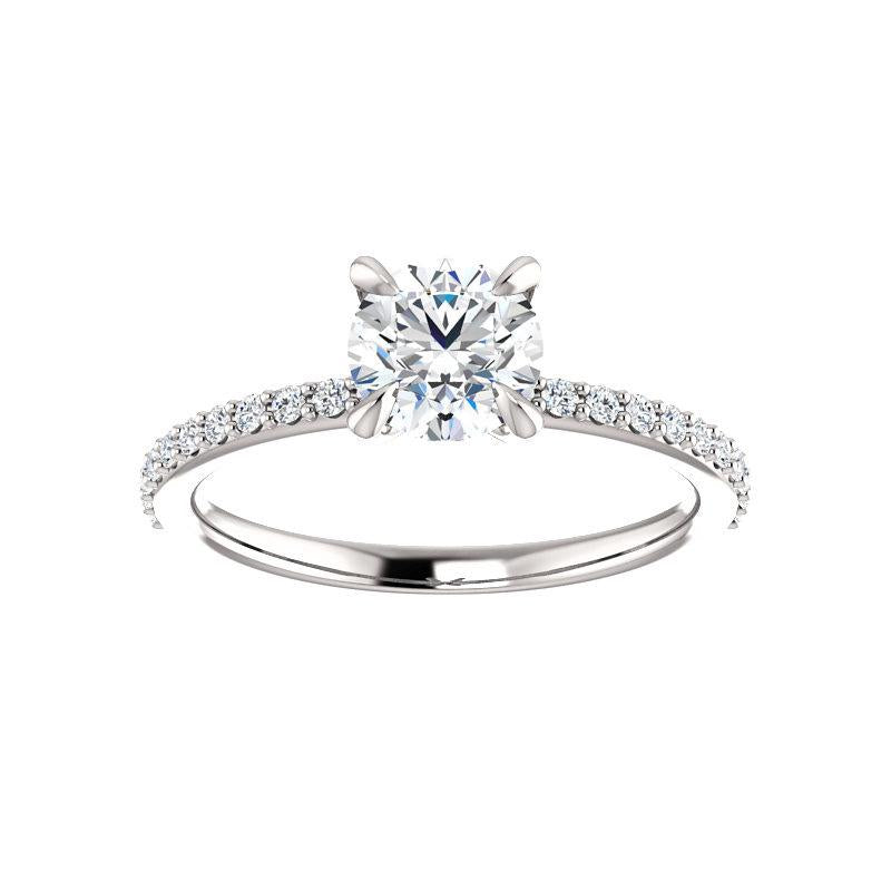 The Kathe Moissanite round moissanite engagement ring solitaire setting white gold