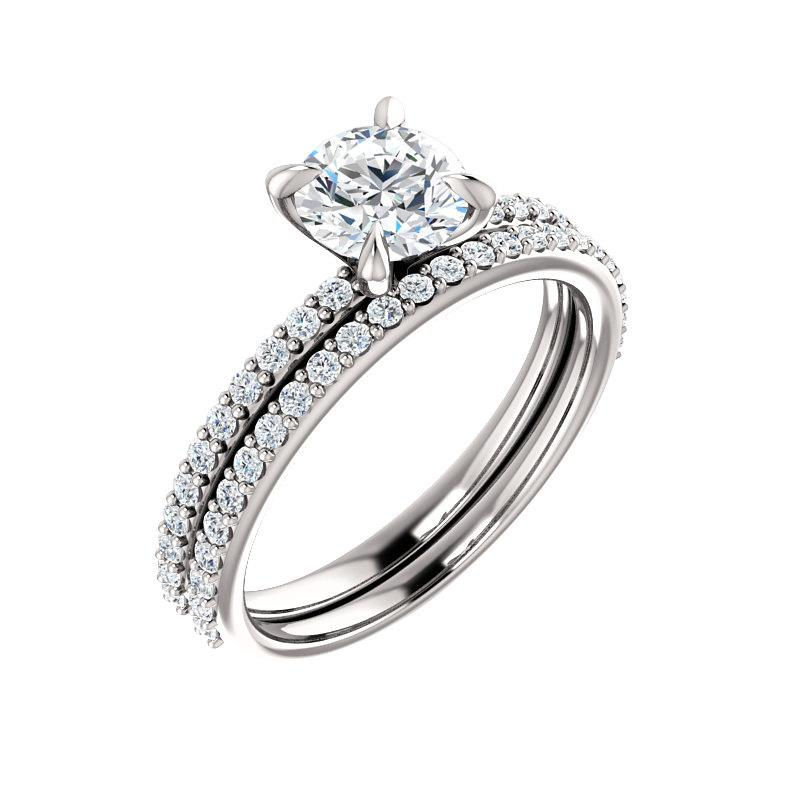 The Kathe Moissanite round moissanite engagement ring solitaire setting white gold with matching band