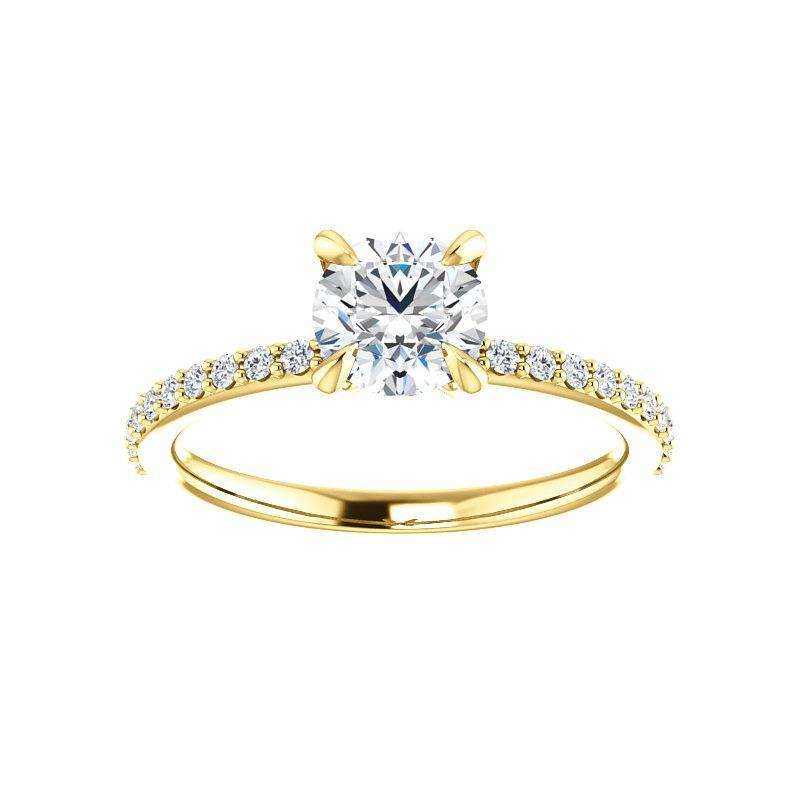 The Kathe Moissanite round moissanite engagement ring solitaire setting yellow gold
