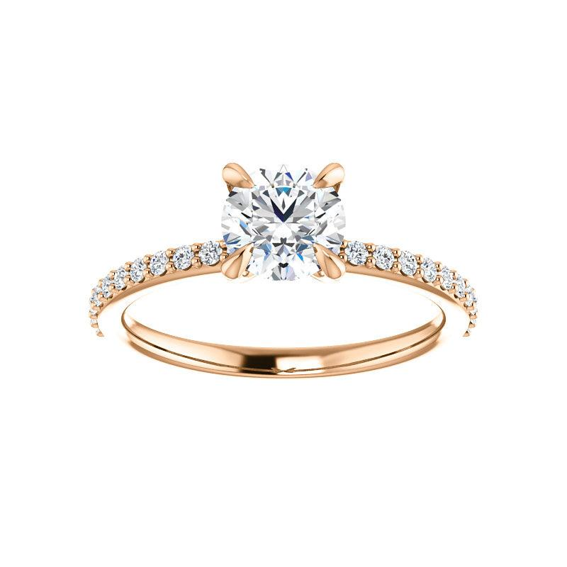 The Kathe Moissanite round moissanite engagement ring solitaire setting rose gold