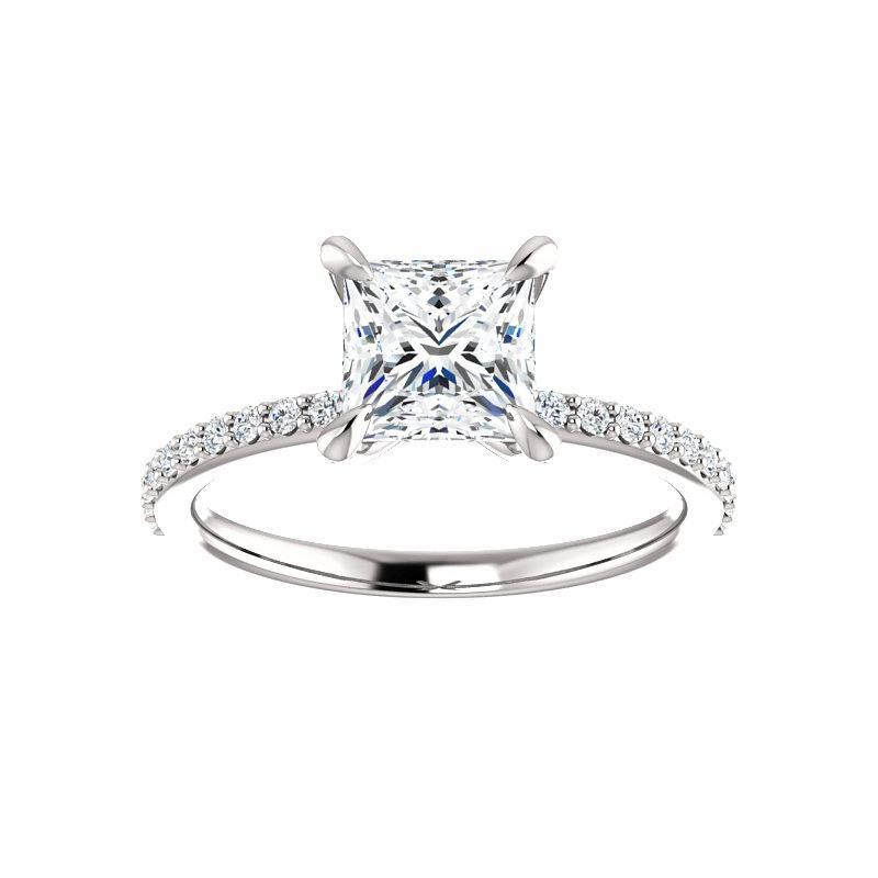 The Kathe Moissanite princess moissanite engagement ring solitaire setting white gold