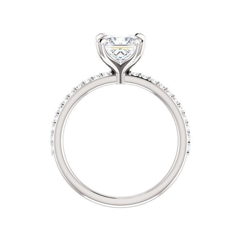 The Kathe Moissanite princess moissanite engagement ring solitaire setting white gold side profile