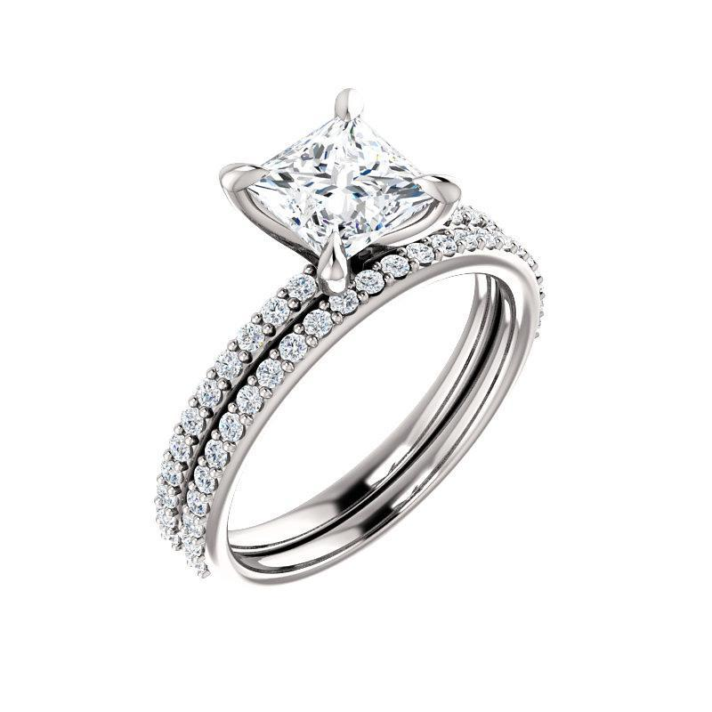 The Kathe Moissanite princess moissanite engagement ring solitaire setting white gold with matching band