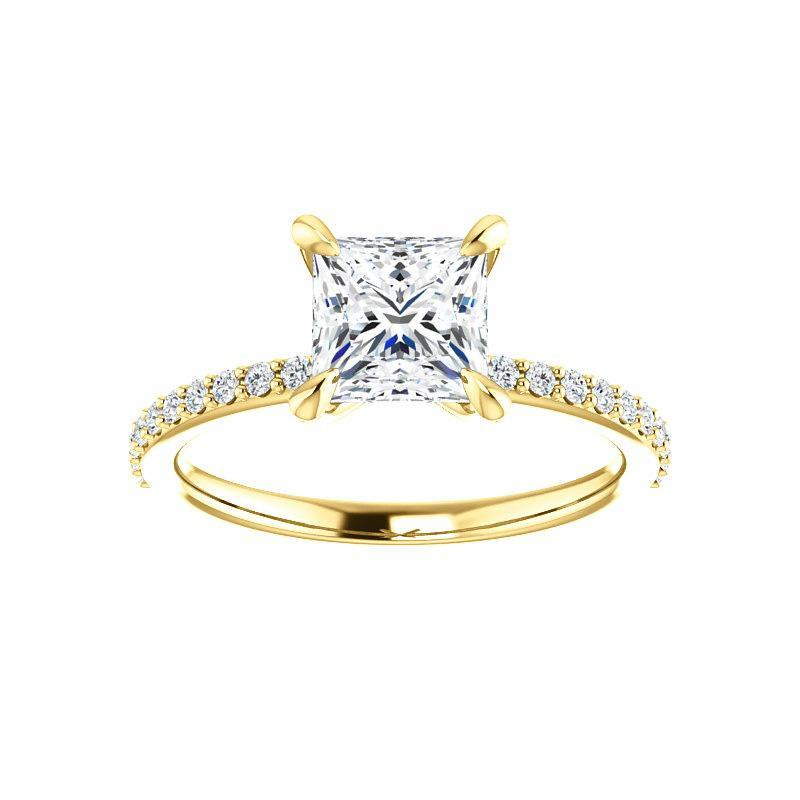 The Kathe Moissanite princess moissanite engagement ring solitaire setting yellow gold