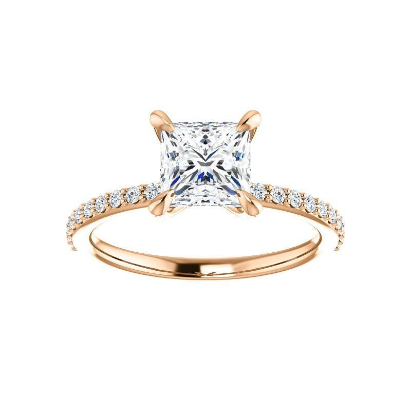 The Kathe Moissanite princess moissanite engagement ring solitaire setting rose gold