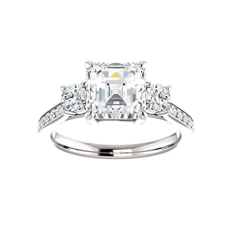 The Weston asscher moissanite engagement ring solitaire setting white gold