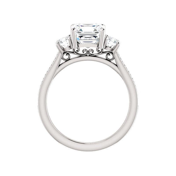 The Weston asscher moissanite engagement ring solitaire setting white gold side profile