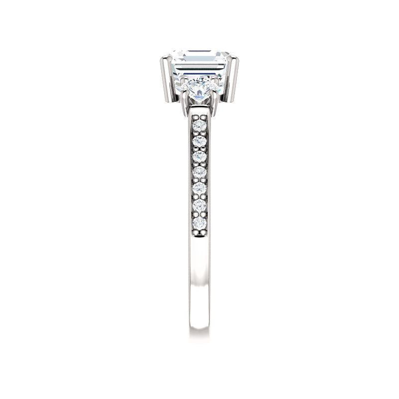 The Weston asscher moissanite engagement ring solitaire setting white gold band profile