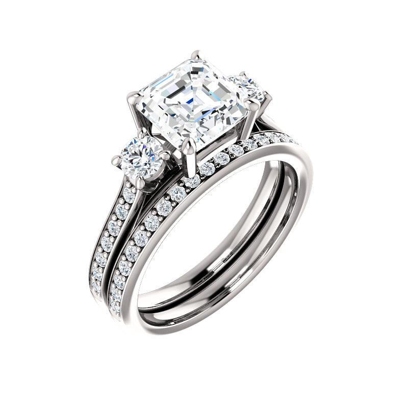 The Weston asscher moissanite engagement ring solitaire setting white gold with matching band