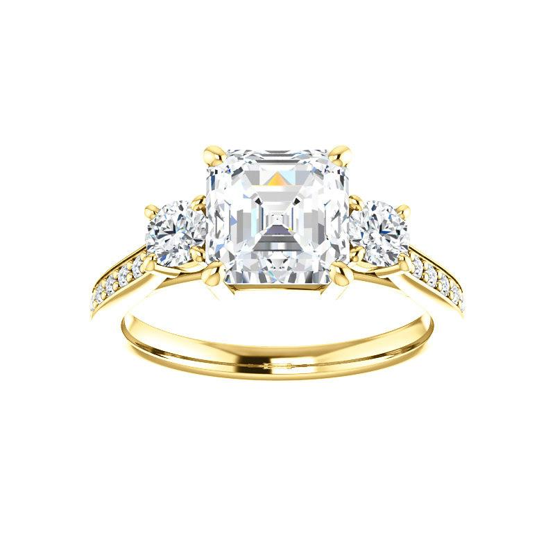 The Weston asscher moissanite engagement ring solitaire setting yellow gold