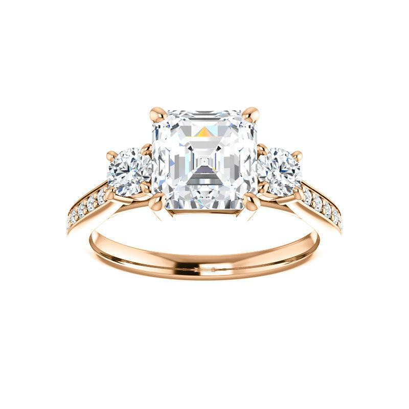 The Weston asscher moissanite engagement ring solitaire setting rose gold