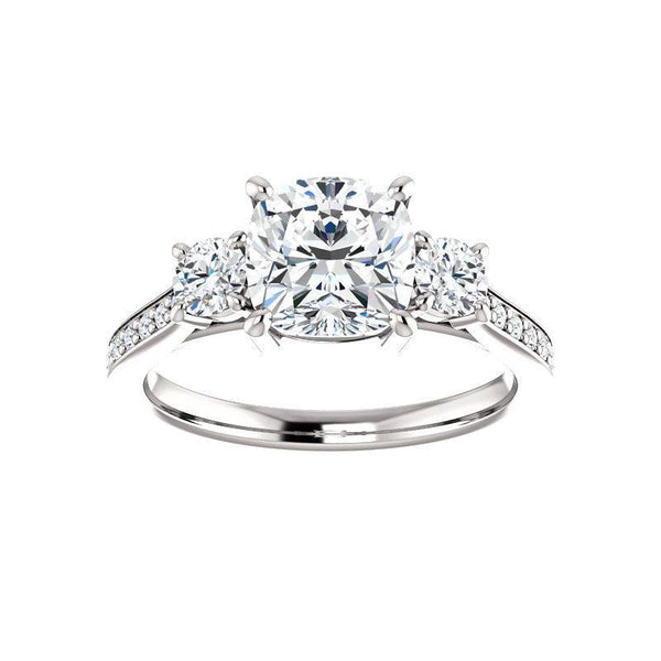 The Weston cushion moissanite engagement ring solitaire setting white gold