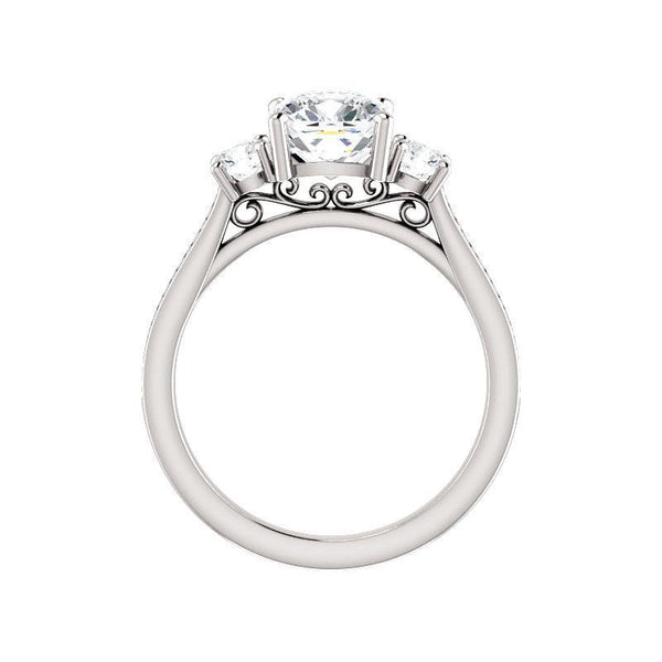 The Weston cushion moissanite engagement ring solitaire setting white gold side profile