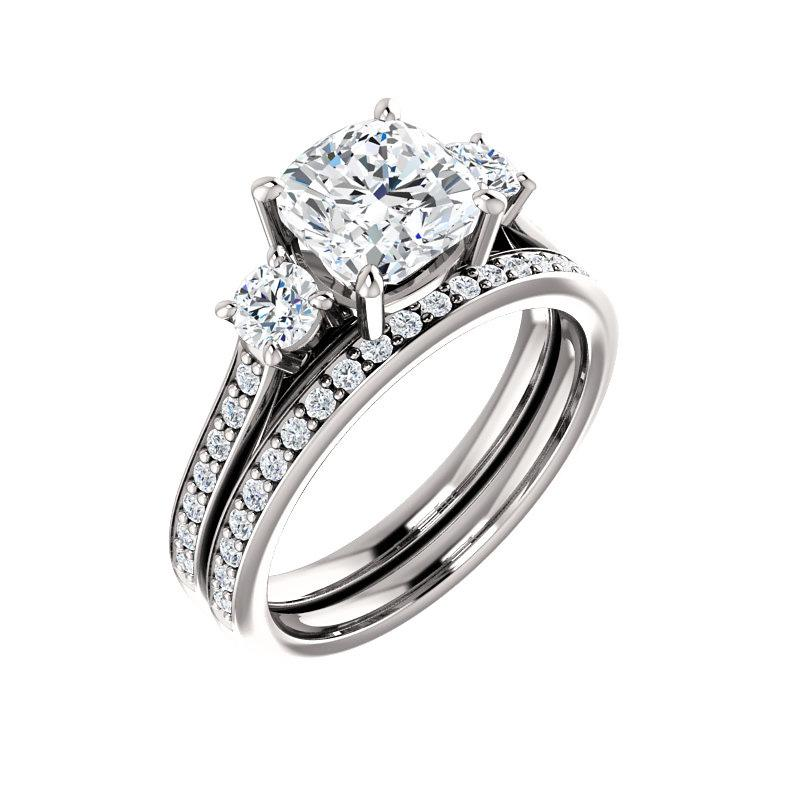 The Weston cushion moissanite engagement ring solitaire setting white gold with matching band