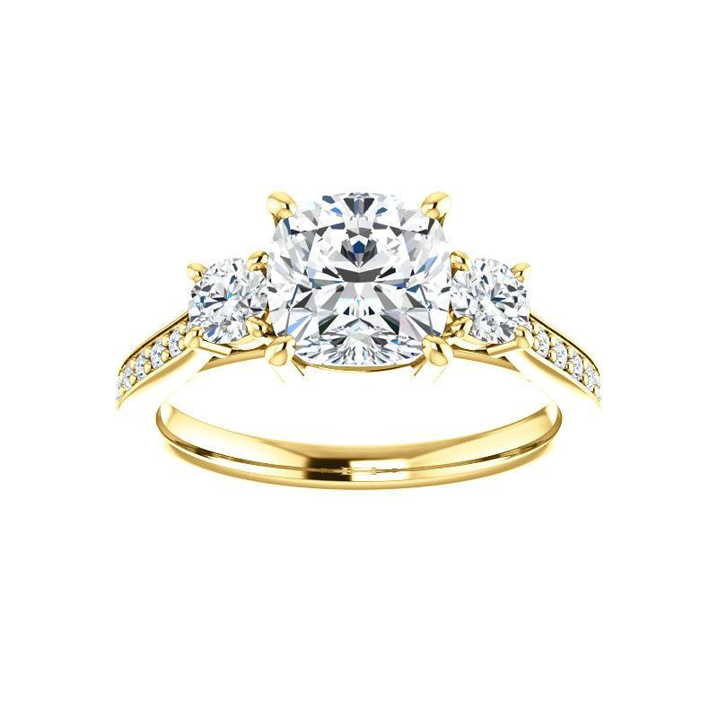 The Weston cushion moissanite engagement ring solitaire setting yellow gold
