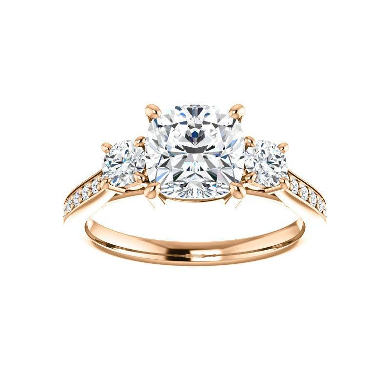 The Weston cushion moissanite engagement ring solitaire setting rose gold
