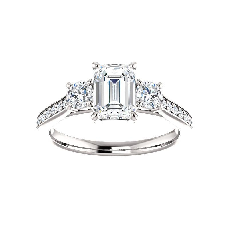 The Weston emerald moissanite engagement ring solitaire setting white gold
