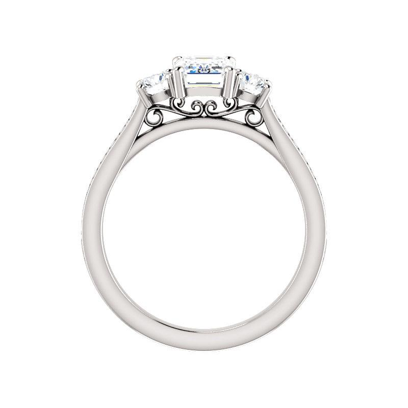 The Weston emerald moissanite engagement ring solitaire setting white gold side profile