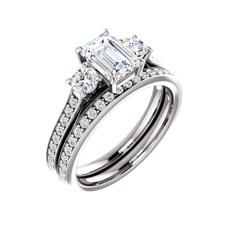 The Weston emerald moissanite engagement ring solitaire setting white gold with matching band