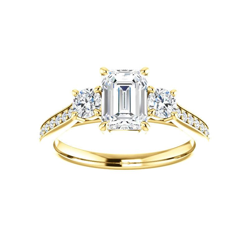The Weston emerald moissanite engagement ring solitaire setting yellow gold