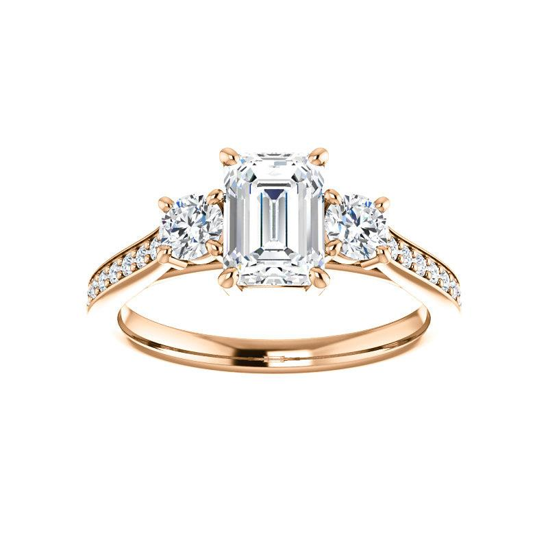 The Weston emerald moissanite engagement ring solitaire setting rose gold