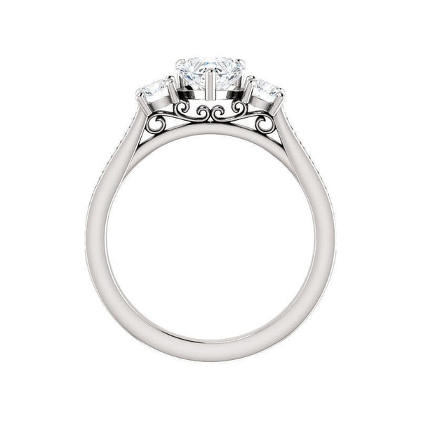 The Weston heart moissanite engagement ring solitaire setting white gold side profile