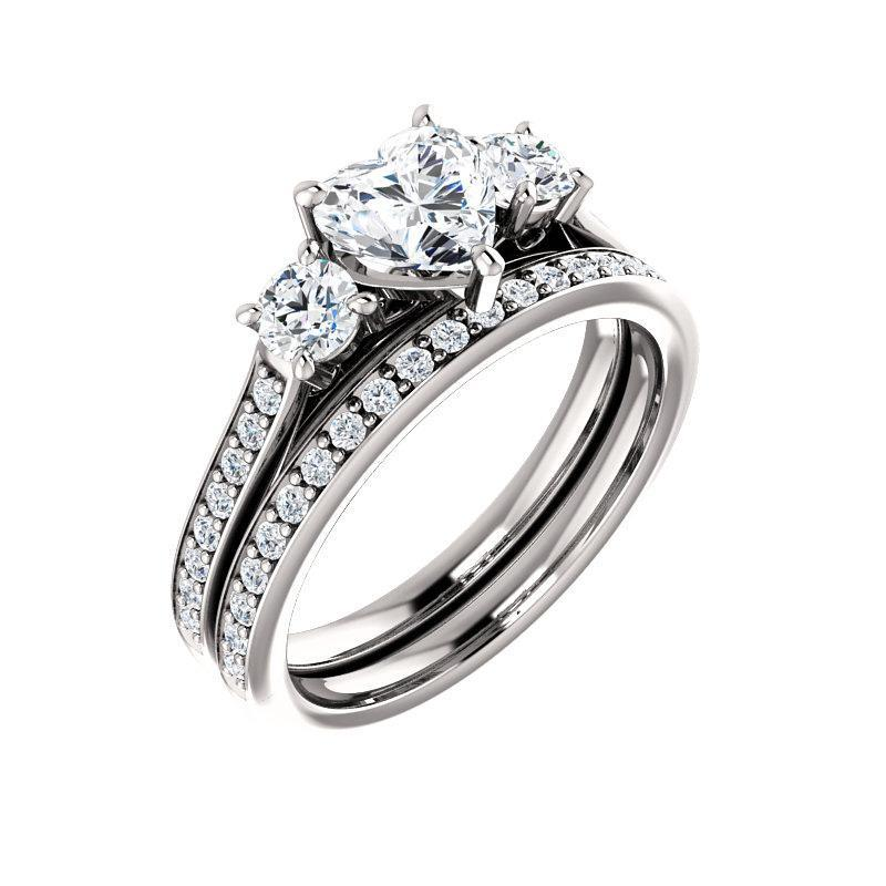 The Weston heart moissanite engagement ring solitaire setting white gold with matching band