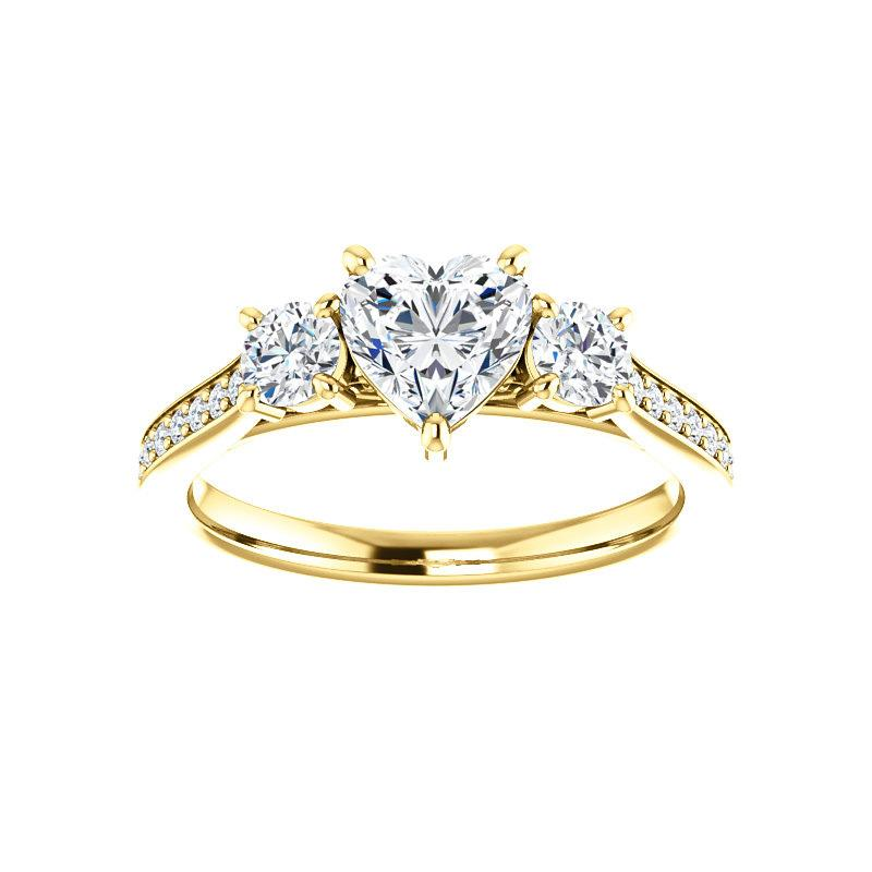 The Weston heart moissanite engagement ring solitaire setting yellow gold