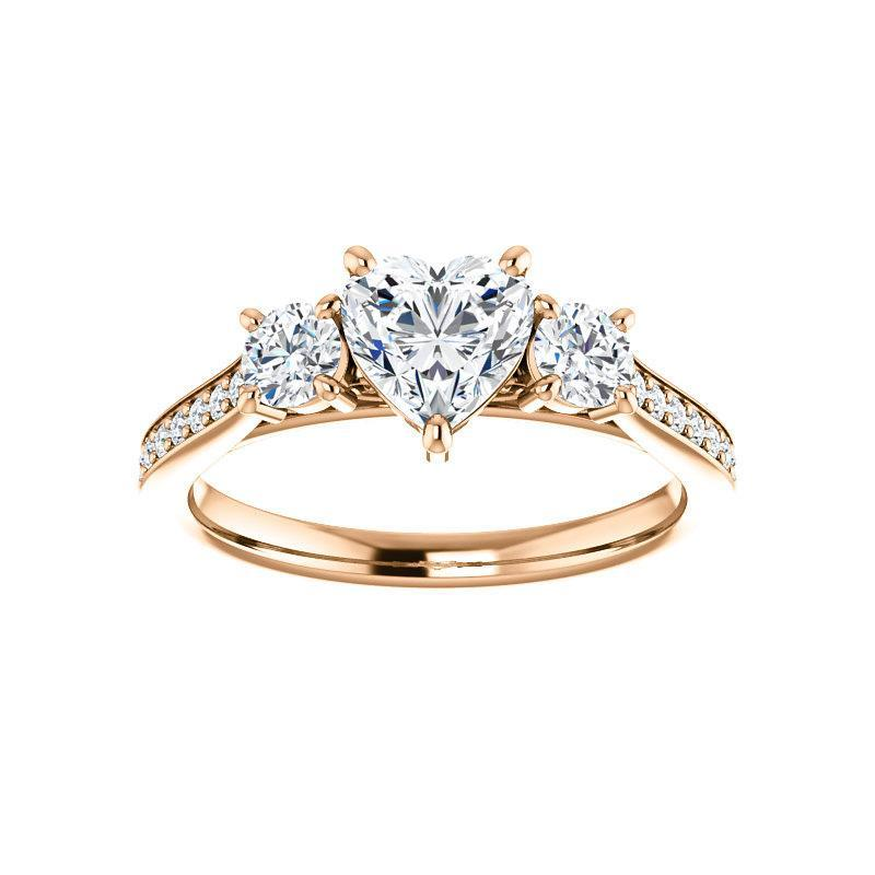 The Weston heart moissanite engagement ring solitaire setting rose gold