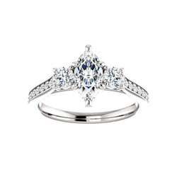 The Weston marquise moissanite engagement ring solitaire setting white gold