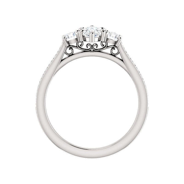 The Weston marquise moissanite engagement ring solitaire setting white gold side profile
