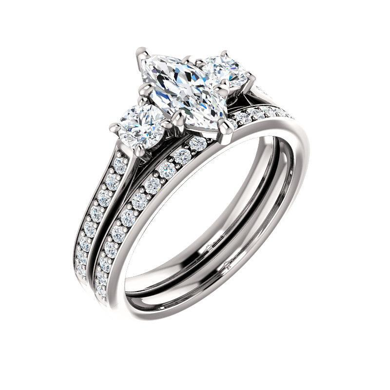 The Weston marquise moissanite engagement ring solitaire setting white gold with matching band