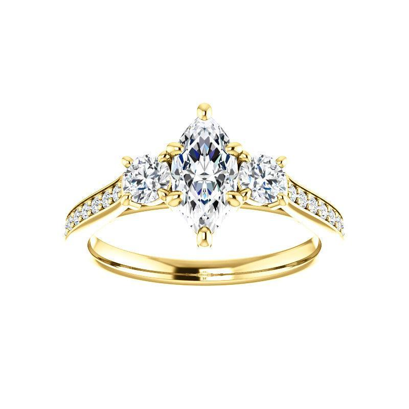 The Weston marquise moissanite engagement ring solitaire setting yellow gold